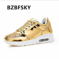 BZBFSKY 2018 Fashion New Women Crystal Patent Leather With Glitter Causal Shoes Brand Design Lace Up Flats Golden Shoes