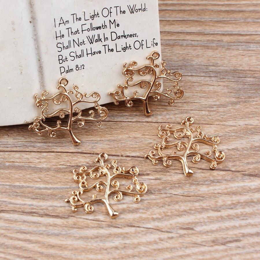 1128e144a030 Lo nuevo de moda 50 unids lote aleación plateada oro vaciamiento de dibujos  animados forma del árbol de Metal encantos de la joyería diy collar    pulsera ...