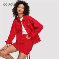 COLROVIE Red Casual Button Denim Jacket Without Skirt 2018 Autumn Women Basic Jacket Long Sleeve Streetwear Girls Jacket Coat
