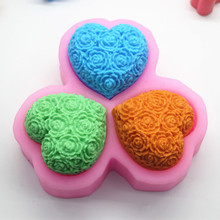 3 Connected Heart Soap Making Silicone Molds Flower Pattern 3D Mold Cake Baking Tool