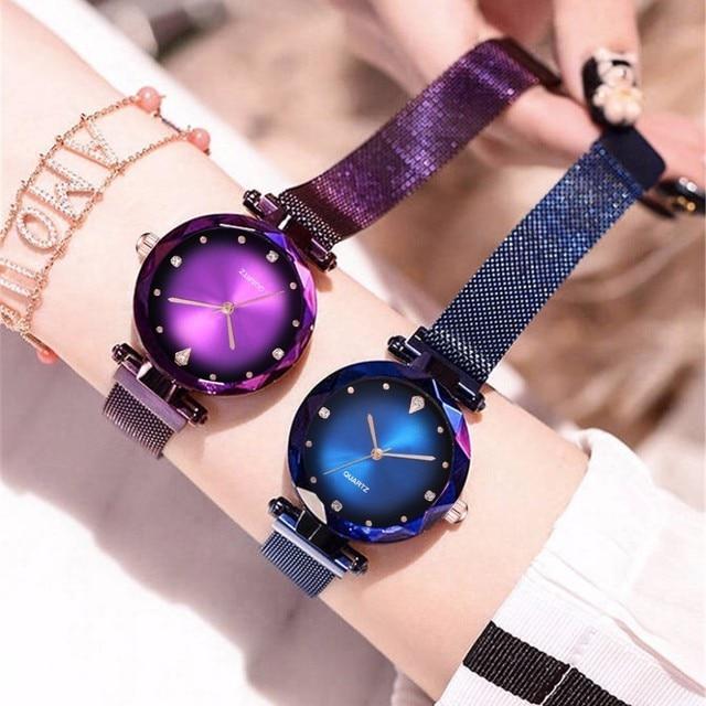 Hot Fashion Women Magnet Buckle Starry Sky Watch Luxury Fashion Ladies Geometric Surface Quartz Watch Relogio Feminino