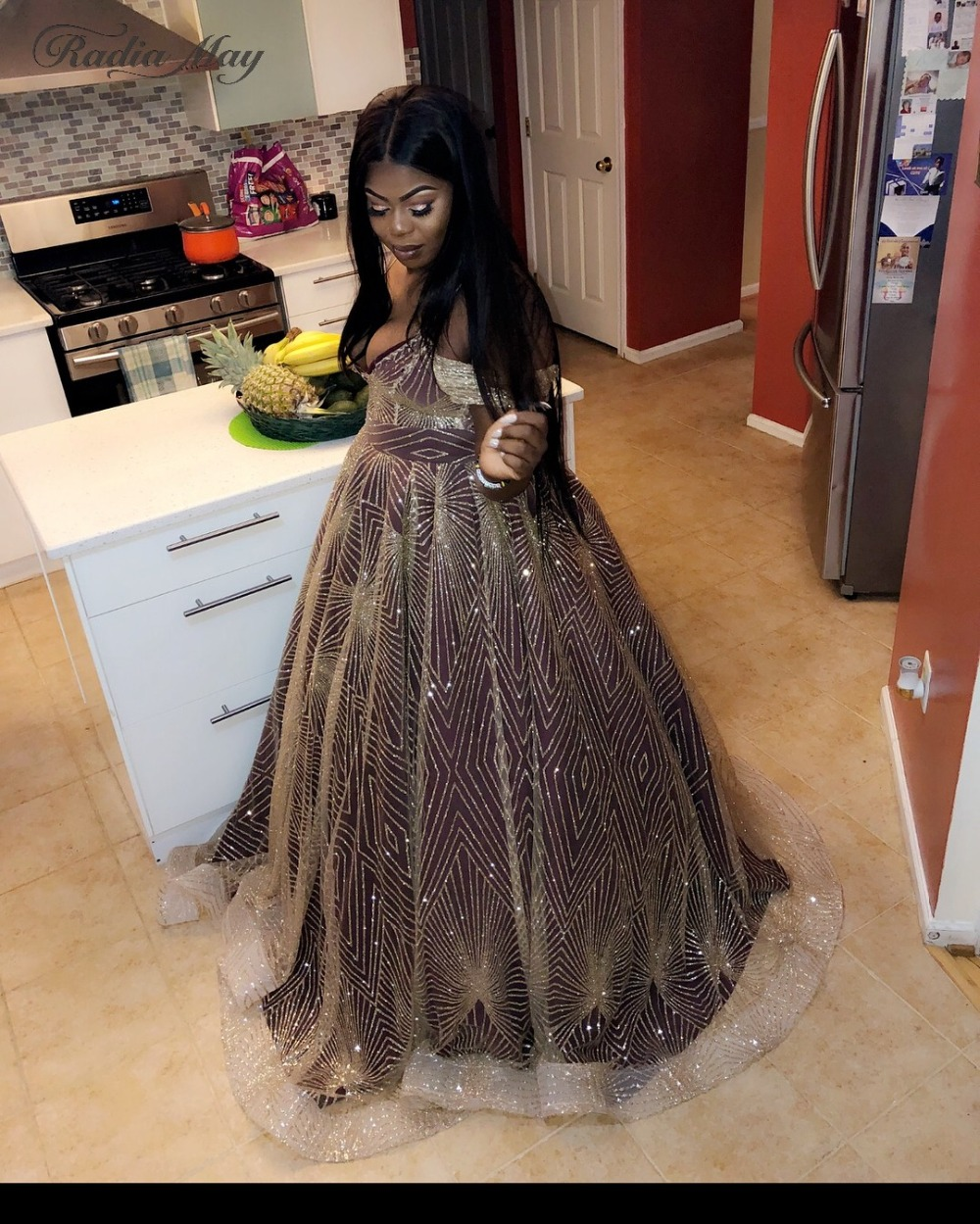 BIG SALE] Sparkly Gold Sequins Black Girls Plus Size Prom Dresses ...