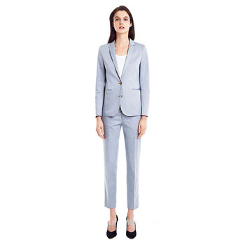 Women Pant Suits Light Sky Blue Women Tuxedos Shawl Lapel Suits For Women Two Button Business Work Suits Ladies Trouser Suits