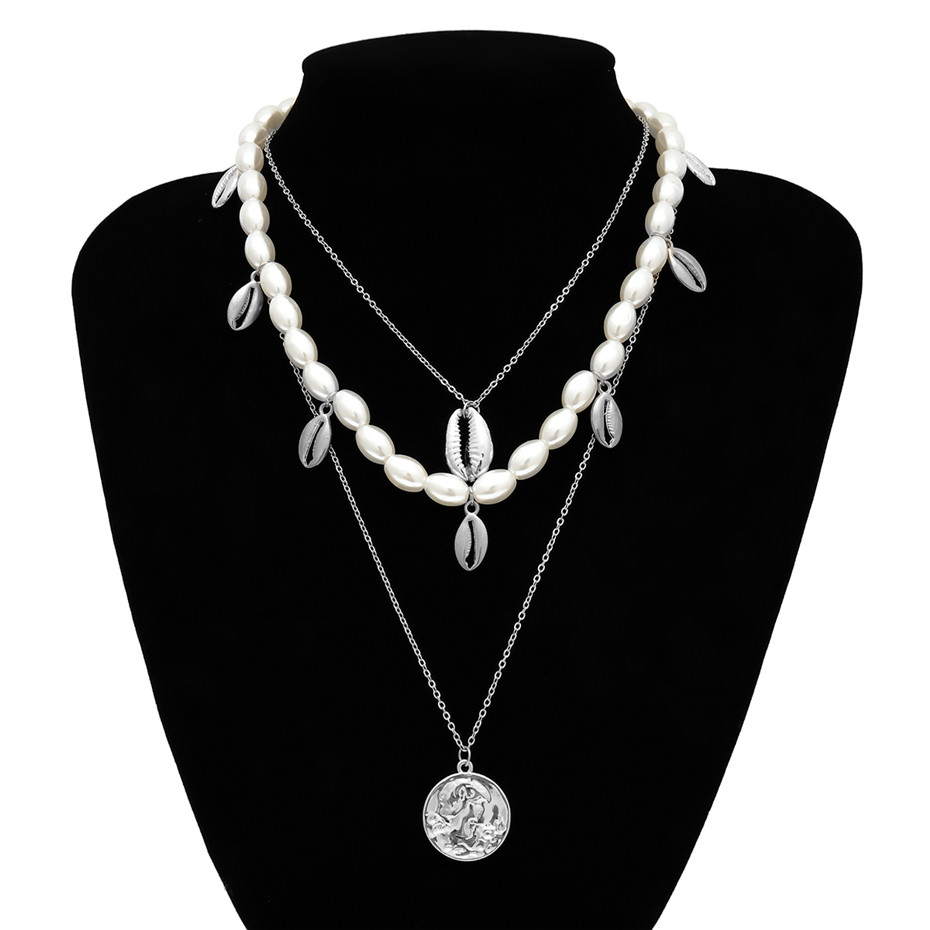 IngeSight.Z Punk Multi Layered Pearl Choker Necklace Collar Statement Virgin Mary Coin Crystal Pendant Necklace Women Jewelry 5