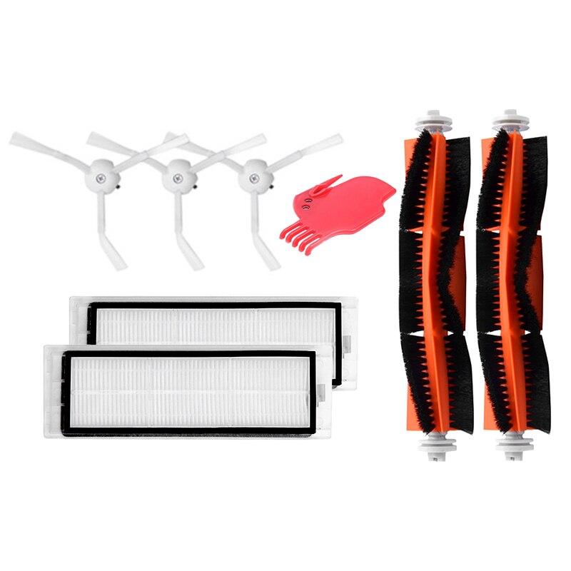 Accessories For XIAOMI mijia/roborock Vacuum Replacement 3 PCS Side Brush 2 Pcs HEPA Filter 2 Pcs Main Brush 1Pcs Cleaning Tool цена