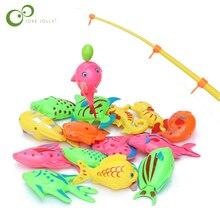 Магнитная рыболовная игрушка для детей, 1 шт., Удочка+ 10 шт., 3D Рыба, Детские Игрушки для ванны, уличная рыба и удочка, игрушки GYH