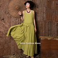 2015 Summer Women Solid Cotton Sleeveless Big Swing Long Pleated Slim Dress Elegant High Quality Party Evening Ball Gown 851258