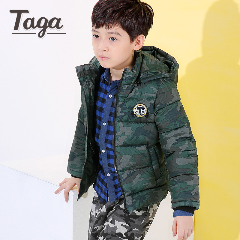 TAGA Baby Boys Camouflage Jacket 2017 Winter Boys Cotton Hooded Down Jacket Kids Warm Outerwear Children Clothes Infant Coat 2017 new boys winter thick warm coat kids school hooded casual jacket kid snow outerwear down cotton padded winter coats clothes