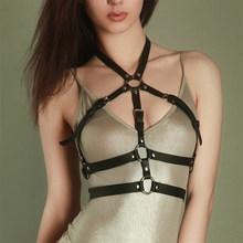 Upper Vest Belt Complete Hollowed Bra Belt Neck To Bra Faux Leather Belts Garter Cage Sexy Punk Rock Style Adjustable Bra Belts(China)