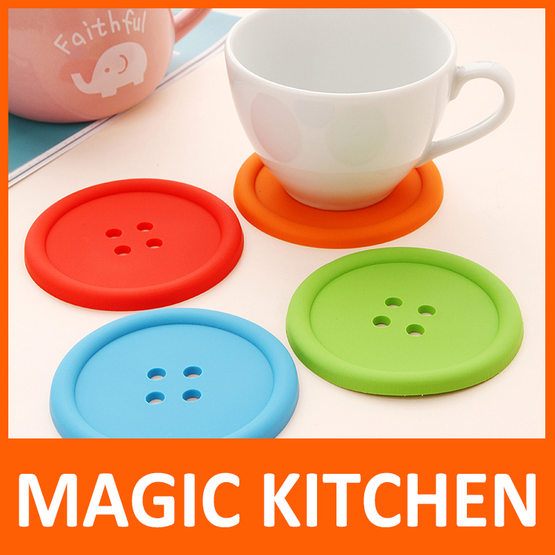Magic Kitchen 10 pcs/lot set <font><b>Cute</b></font> <font><b>Silicone</b></font> Round Button <font><b>Coaster</b></font> <font><b>Cup</b></font> <font><b>Mats</b></font> Home Table Decor Coffee Drink Placemat Free shipping
