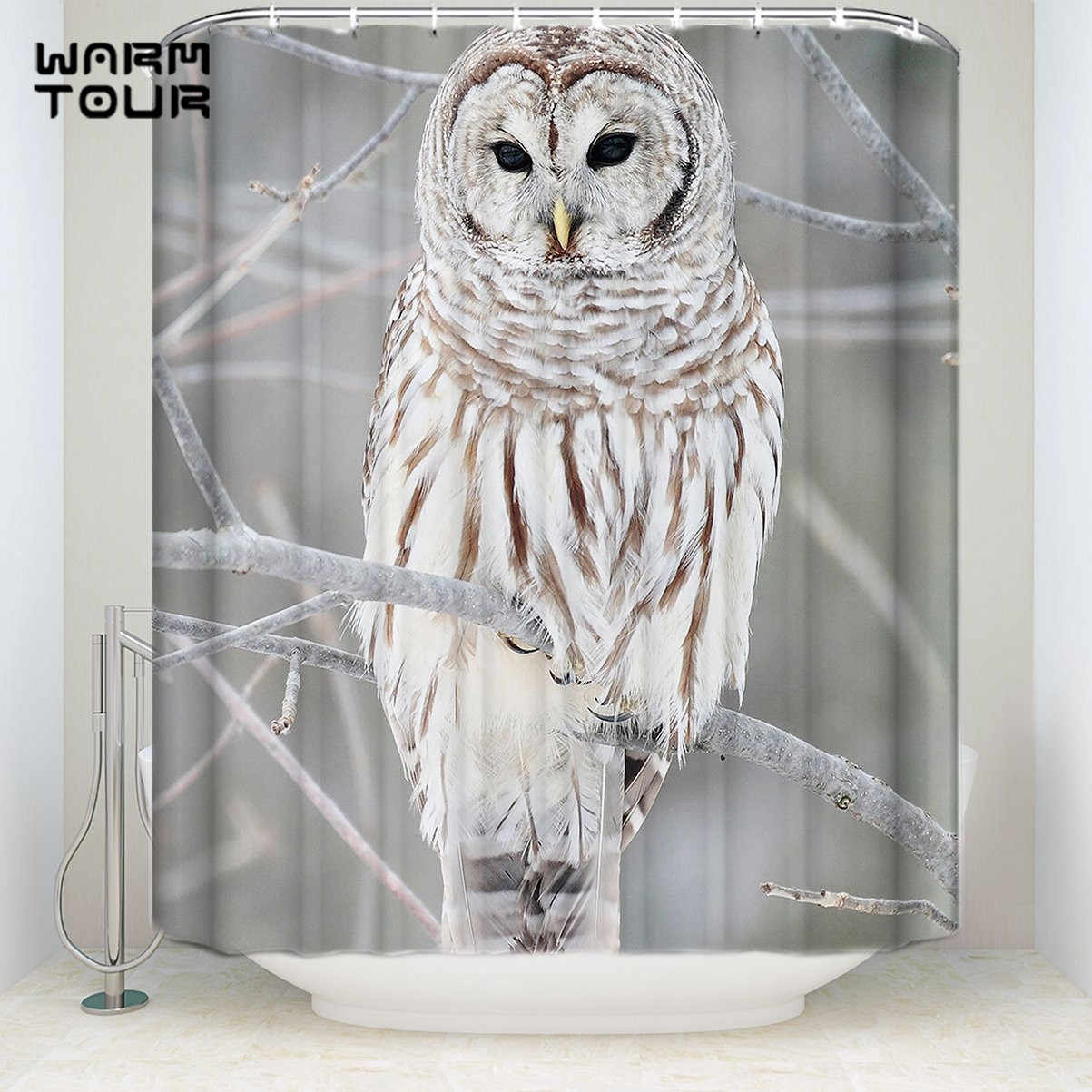 Extra Long Fabric Bath Shower Curtains Owl Tree Mildew resistant