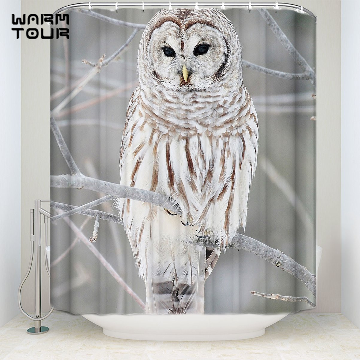 Extra Long Fabric Bath Shower Curtains Owl Tree Mildew Resistant Bathroom Decor Sets With Hooks 72