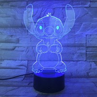 Cartoon Stitch 3D Lamp Bedroom Table Night Light Acrylic Panel USB Cable 7 Colors Change Touch Base Lamp Kids Gift 3D-812 2