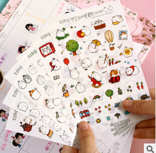 Kawaii Cartoon Molang Rabbit Decorative Stickers Scrapbooking Mobile Phone Stickers Stationery DIY Album Stickers