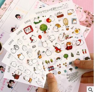 Kawaii Cartoon Molang Rabbit Decorative Stickers Scrapbooking Mobile Phone Stickers Stationery DIY Album Stickers