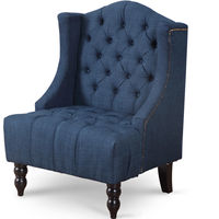 Giantex современный Мебель для гостиной Tall wingback Хохлатая акцент кресло Ткань Винтаж стул Nailhead диван стулья hw57313ny