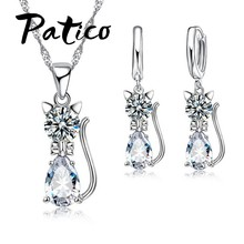 2b2b391ed PATICO Austrian Crystal 925 Sterling Silver Jewelry Sets For Women Cute Cat  Design Water Drop Crystal Pendant Necklace Set