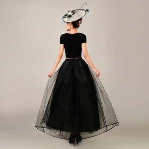 Image 3 - 2018 New Petticoat Long Tulle Skirts  Three Layers Womens  Underskirt For Wedding Dress White/Black