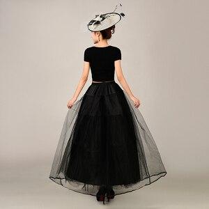 Image 3 - 2018 جديد ثوب نسائي طويل تول التنانير ثلاث طبقات إمرأة تحتية لفستان الزفاف الأبيض/الأسود
