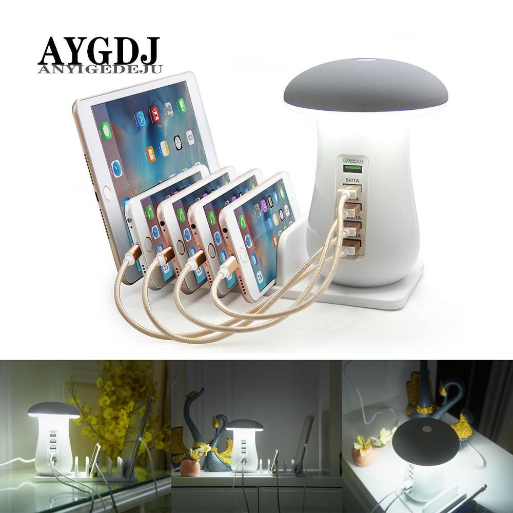 Mushroom Night Light Button mode/Touch mode 3.0 USB Charger Hub 5 Port Adapter Phone Charging LED Mushroom Desk Light