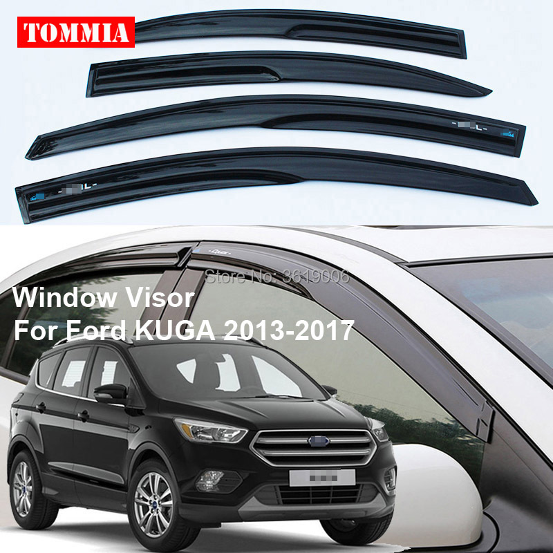 tommia 4pcs Window Visor Shade Vent Wind Rain Deflector Guards Cover For Ford KUGA 2013-2017 window visor rain sun deflector shade guards 4pcs for land rover discovery 4 lr4 2015 2014 2013 2012 2011 2010