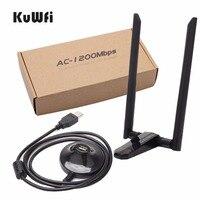 KuWfi 1200 Мбит/с Беспроводной сетевая карта с интерфейсом USB USB3.0 Dual Band 2,4G и 5,8G Wi-Fi приемник и Беспроводной адаптер для ПК с 2 шт антенны