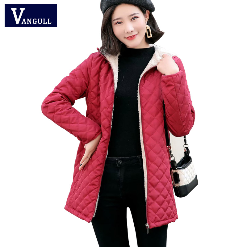 Vangull Long   Parkas   Basic Jackets Female Women Winter Plus Velvet Lamb Hooded Coats Autumn 2019 New Cotton Winter Jacket Outwear