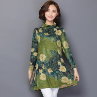 Plus Size Long Blouse Women 2016 Autumn Floral Print Tunic Women Shirts Long Sleeve Korean Chemise