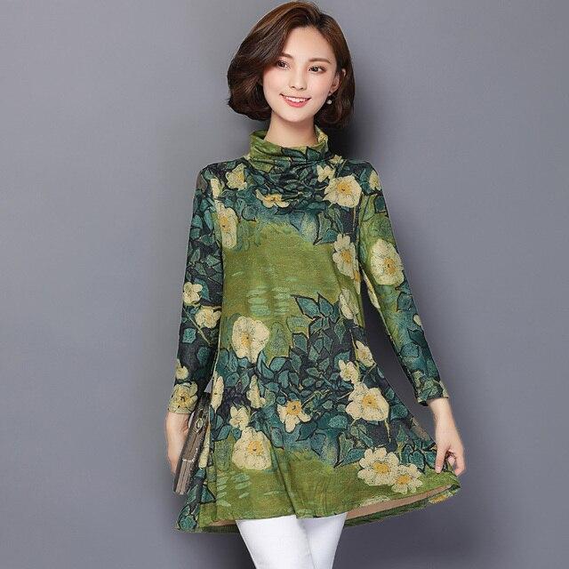 Плюс Размер Длинная Туника Блузка Женщины 2016 Осень Цветочный Печати Женщины Рубашки С Длинным Рукавом Корейский Сорочка Femme Повседневная Женщины Топы