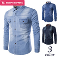 2016 Limited Real Camisa Masculina 2017 Men's Fashion Slim Fit Casual Shirt Long Sleeve Shirts Printing Men Shirt, Asian Size
