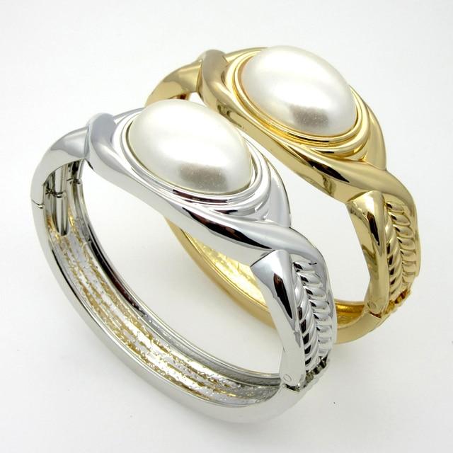 New 2015 Fashion Metal Temperament Big Pearl Bracelet 24K Gold Plated Elegance Women Bracelets Bangles Pulsera Wholesale Jewelry