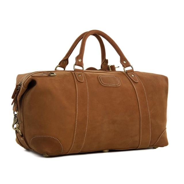 ROCKCOW 2014 Nueva Bolsa de Llegada Bolsa de Viaje de Cuero Genuino Cuero Weekender Duffle Bag Messenger Bag Hombro Noche DZ02