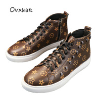 OVXUAN Fashion Metal Skull Rivet Sneakers Men Flats High Top Hip Hop Casual Star Pu Leather Loafers Moccasins Punk Shoes for Men
