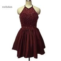 Ruthshen WOW Короткие вечерние платья дешевые 2018 Холтер шеи бисером Темно синие мини 8th Класс Выпускной платье полу торжественное платье