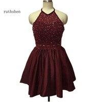 Ruthshen Wow короткие платья для выпускного вечера дешевые 2018 американская пройма с бисером Темно Синие Мини 8 класс выпускное платье полу формал