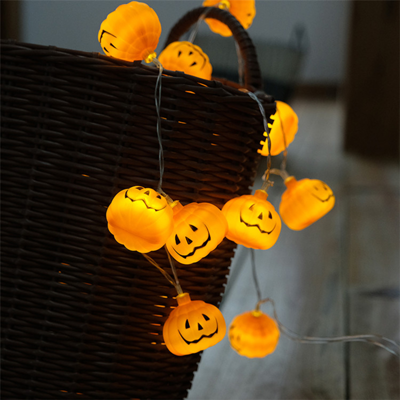 1M 2M 3M Battery Operated Halloween Pumpkin led string lights Halloween Holiday Christmas Party Garden Decoration Lanterns Light ...