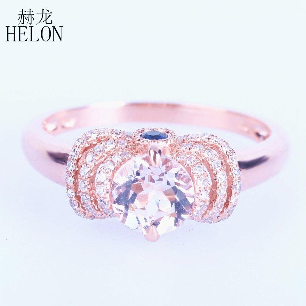 HELON Real 10 K or Rose sans défaut 6mm ronde Rose Morganite bague diamant saphirs gracieuse femmes bijoux fiançailles bague de mariage