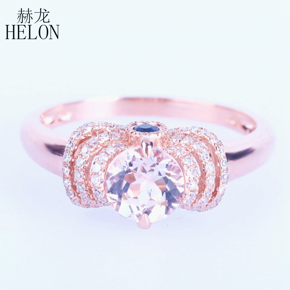 HELON Real 10K Rose Gold Flawless 6mm Round Pink Morganite Ring Diamond Sapphires Graceful Women Jewerly Engagement Wedding Ring цена