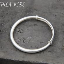 Fyla Mode S999 Silver Bangle Cute Baby Toddler Bracelets Smooth Jewelry Size Adjustble 4mm 15.50G TYC122