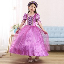 New Kids Dress 2015 Summer Purple Short Sleeve Performance Dress Sophia Toddler girl Clothes Christmas Dress