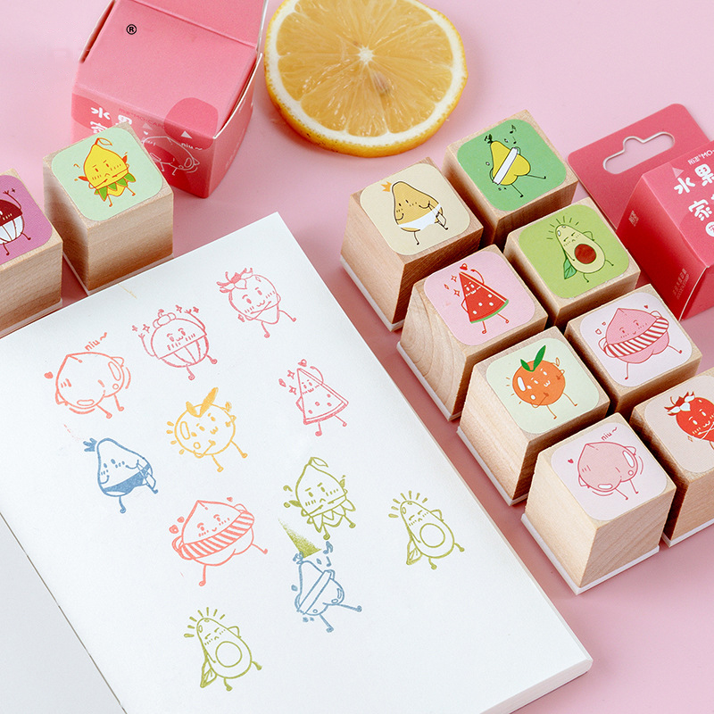 Mohamm Fruit Family Series Wooden Seal Stamp Lovely Kawaii Handmade DIY Printing And Painting Seal