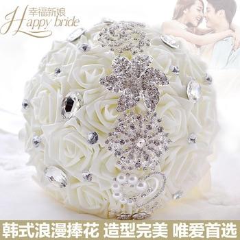 Stunning Flowers Crystal Wedding Bouquet Beaded De Mariage Hand Holding Artificial Flower