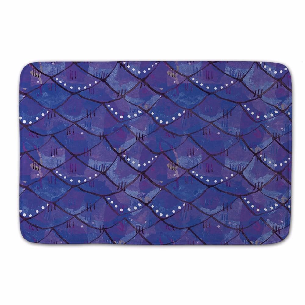 Mermaid Doormat Outdoor,Fish Scale Door Mat for Entrance Door,Beach Bathroom Carpet,Purple Kitchen Floor Carpet,Kids Room Carpet
