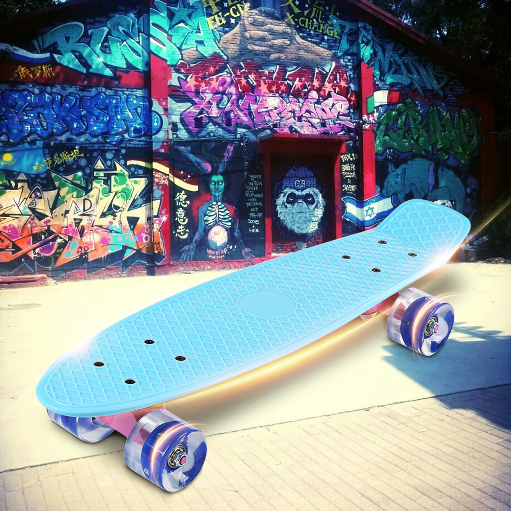 22 инча Скейт борд Банан Стил Мини Крейсер Дълга дъска Пастел Цвят Възрастен Дете Риба Скейтборд с LED Мигащи Колела
