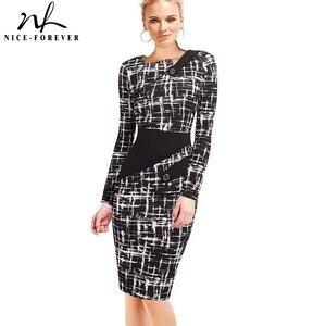 Image 1 - Nice forever vestido ceñido de negocios para mujer, elegante, ilusión de retales, ajustado con botones, b231