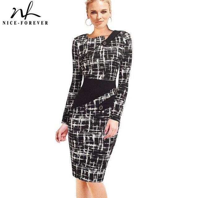 Nice forever vestido ceñido de negocios para mujer, elegante, ilusión de retales, ajustado con botones, b231