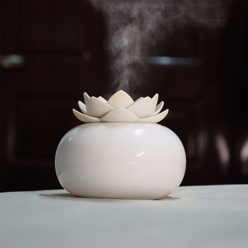 200ML Ceramic Ultrasonic Aroma Humidifier Air Diffuser Simplicity Lotus Shape Purifier Atomizer Essential Oil Diffuser