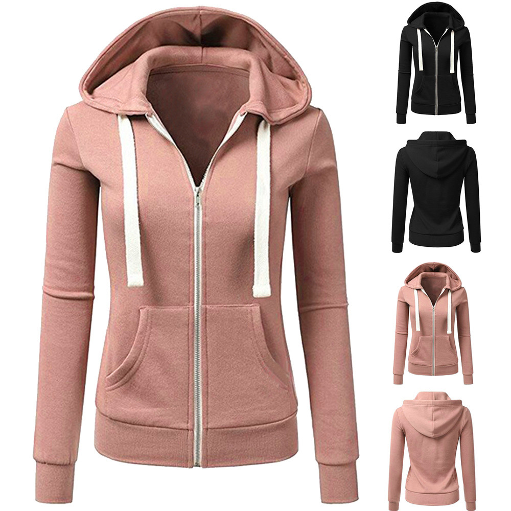 Women Hooded Coat Casual Long Sleeve Solid Color Zipper Sport Coat Outwear Slim Fitted Jackets 30#oc8 An Enriches And Nutrient For The Liver And Kidney Women's Clothing