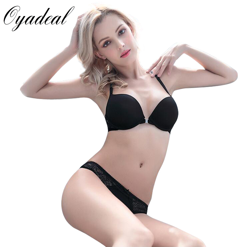 926f13e769 Oyadeal Lady Seamless Push Up Bra Set Top Y word strap Front Closure Underwear  Women Lingerie Sexy Panties And Bra Sets-in Bra   Brief Sets from Women s  ...