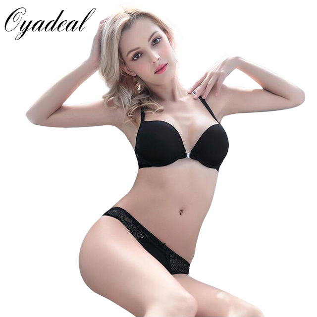 c540ad13fba Oyadeal Lady Seamless Push Up Bra Set Top Y word strap Front Closure  Underwear Women Lingerie